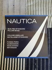 New Nautica Brunswick Black White Gray Plaid Quilted Standard Pillow Sham