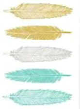 20 water slide nail art transfers teal white gold feathers 5/8 inch Trending