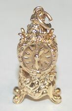 Lovely Ornate 9ct Gold Mantle Clock Charm Moving Hands 7.2G