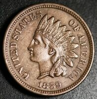 1859 INDIAN HEAD CENT -With LIBERTY & DIAMONDS - AU UNC