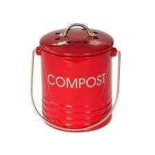 Mini Red Metal Compost Caddy - Kitchen Compost
