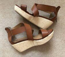 Clarks 5 38 Leather Brown Wedge Spring Summer Sandals Zip Back Freepost