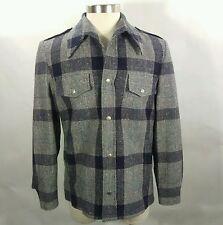 Men's Wool Hathaway OtherWear Plaid Jacket Navy Blue 70's Size 42