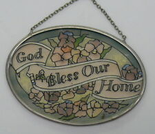 "Hanging Stain Glass Sun Catcher > God Bless Our Home 4-1/2"" x 3-1/4"""