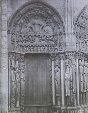 North Portal, Notre Dame Chartres Cathedral, France, Magic Lantern Glass Slide