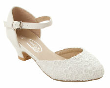 GIRLS IVORY LACE BRIDESMAID PARTY WEDDING COMMUNION LOW HEEL SANDALS SHOES SIZE
