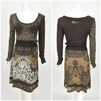 Womens Desigual Brown Dress Long Sleeve Stretch Belted Size M