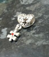 Autism Awareness Jigsaw Puzzle Heart dangle charm bead for European bracelets