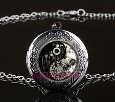 Steampunk Ying Yang Cabochon Glass Gun Black Locket Pendant Necklace