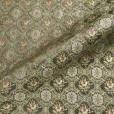 """Vintage Copper Green Amaryllis Motif Upholstery Fabric by the Yard - 54"""""""