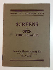 Screens for Open Fire Places, Booklet No. 2, Janusch Manufacturing Co. Catalog