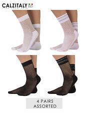 85dbfef89094e 4 Pairs Fishnet Socks, Lurex Net Socks, Fishnet Ankle Socks, Black and White