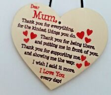 19 X 14.5cm Mum Hanging Heart Plaque