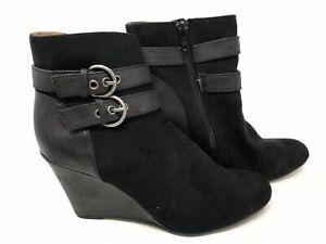 NEW! Jaclyn Smith Women's Ellis Ankle Wedge Booties Black #30614 142LM tz