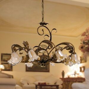 Hanging Chandelier Art Povera Classic Wrought Iron Flowers Leaves Roses Gold