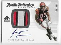 2008 SP AUTHENTIC ANDRE CALDWELL ROOKIE AUTO 3CLR PATCH RC #278 BENGALS 226/999