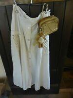 lot =mini sac beige  et jupe femme  lin mélangé  T40-42 éVASéE
