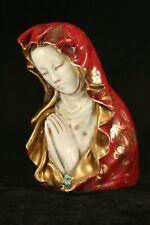 "GID Italy TKC 6"" Heavy Art Pottery Madonna Figurine LT31 in Red & Gold Catholic"