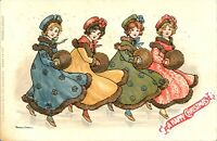 Ladies dancing Florence Hardy Christmas card postcard antique printed adorable