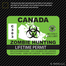 Canada Zombie Hunting Permit Sticker Die Cut Decal Outbreak Response Team 2