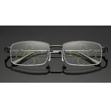 Progressive Reading Glasses Half Rim Frame Eyeglasses Multifocal Lens +1.0~+3.5