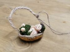 1:12 Scale Baby in Walnut Shell Cradle for Dolls & Fairy House