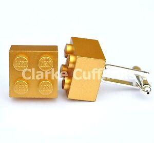 RARE LEGO® GOLD BRICK CUFFLINKS SILVER PLATED -6MTH GUARANTEE WEDDING GIFT