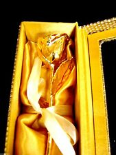 """CHRISTMAS GIFT 24K Gold Dipped 11"""" Real Rose in Gold Egyptian Casket Design"""