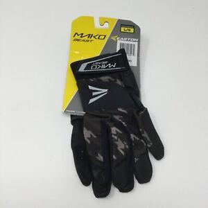 Easton Mako Beast Batting Gloves Black / Silver Size Youth Large NEW