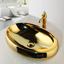 Luxury Lavatory Vessel Sinks Golden Ceramic Oval Basin Bowl Mixer Faucet  Set