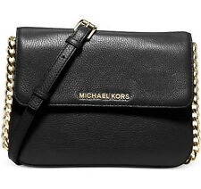NWT MICHAEL Michael Kors Bedford Double Gusset Leather Crossbody, Black