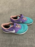 Nike Girls Flex Contact Sneakers Athletic Shoes Teal Purple Sz 1.5Y Youth