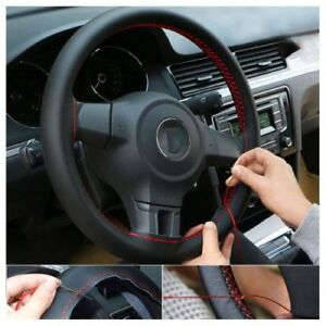 New Universal Genuine Leather DIY Car Steering Wheel Cover Case Needles&Thread