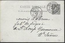ENTIER  POSTAL  CARTE POSTALE  TYPE SAGE 1893  GRAY