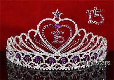 Sweet 15 & 16 Purple Crystal Heart Star Quinceanera Tiara AT1524
