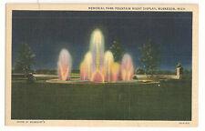Memorial Park Fountain Night Display, Muskegon, Mich. Vintage Postcard #5A-H1471