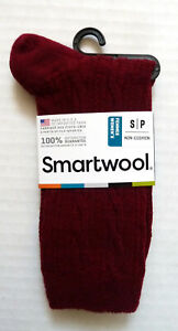New Women`s SmartWool Cable II Crew Socks merino Wool Ultralight