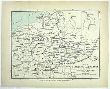 Vintage Longmans Map of Flanders & Brabant Showing the Campaigns of William III
