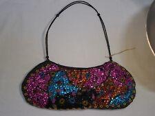 Black Beaded Handbag Purse Shoulder Evening Bag Pink Blue Gold Orange Sequins