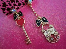 Betsey Johnson Heart Key & Lock Dangle Earrings