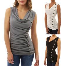 UK Womens Sleeveless Button Vest T-Shirt Ladies Summer Beach Tank Tops Blouse