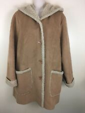 Jones New York XL 1X jacket coat faux suede fur 4 button toggle hooded tan