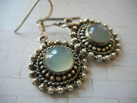 Sterling Silver 925 Pebbled Round Green Chalcedony Dangle Earrings RE1728-1