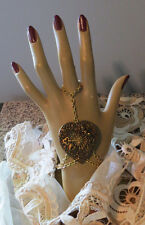 Heart Key Cupid & Filigree Slave Bracelet Antiqued Brass & 24 Karat Gold Plate