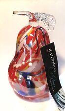 "New Handmade Polish Art Glass Jumbo Pear Figure 7"""
