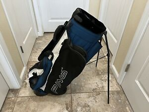 PING HOOFER 3 Golf Stand Bag Black/White/Blue Padded Shoulder Straps Clean Used