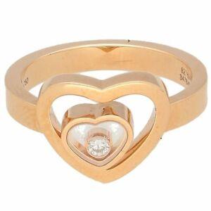 18Carat Rose Gold Chopard Happy Hearts 0.05ct Diamond Ring (Size L 1/2) 13x10mm