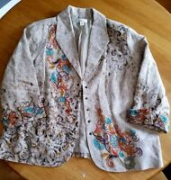 COLDWATER CREEK Womens Paisley Dress Cover Up Blazer Jacket Coat Size 18W ~