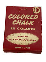 Vintage Colored Chalk 10 Cents Advertising Box / Crayola No.46 Partially Full