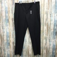Express Slim Fit Stretch Mens 36X34 Black Flat Front Dress Pants NWT